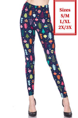 Navy and Pink Christmas Tree Holiday Leggings