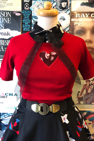 Heart Knit Top in Red by Hell Bunny