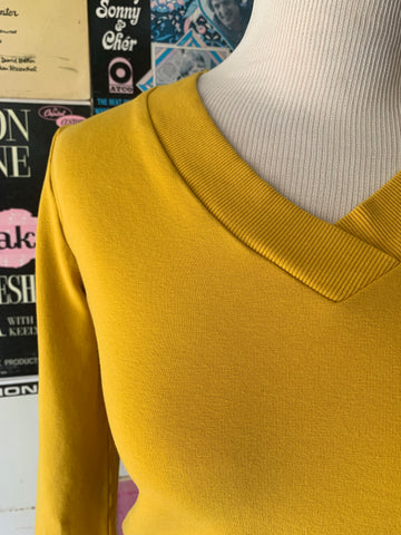 Gold V-Neck Cropped Sweatshirt by Blue Platypus