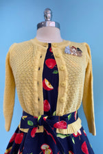 Sunshine Yellow Crocheted Cropped Cardigan