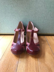 Monet T-Strap Heels in Two-Tone Burgundy by Chelsea Crew