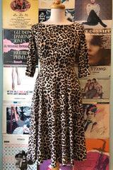Boat Neck Dress in Leopard Jersey by Eva Rose