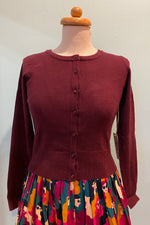 Burgundy Long Sleeve Cropped Cardigan