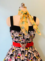 Tie-Back Dress in Cool Shades Print by Eva Rose