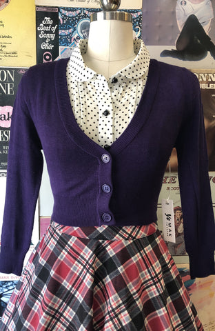 Perfect Cropped Cardi in Grape