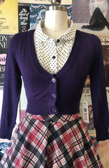 Grape Perfect Cropped Cardi