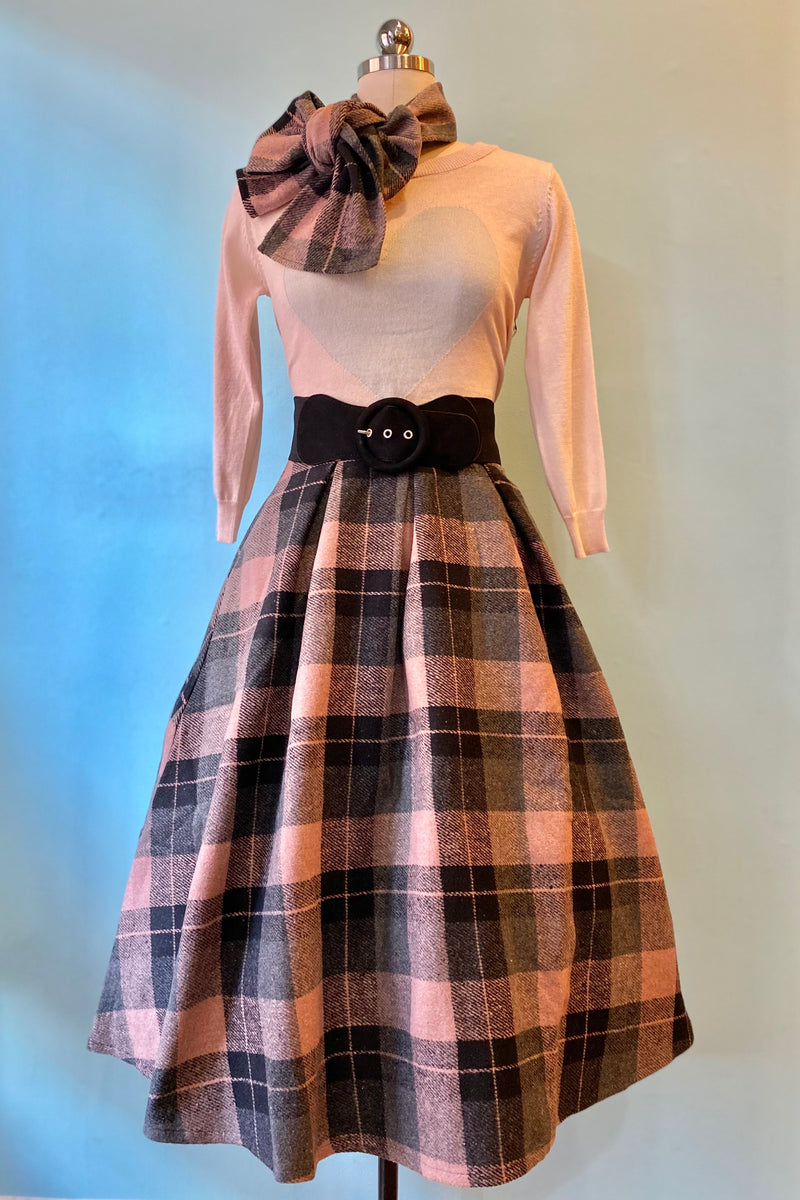 Tabitha Skirt in Pink Plaid with Scarf by Tatyana
