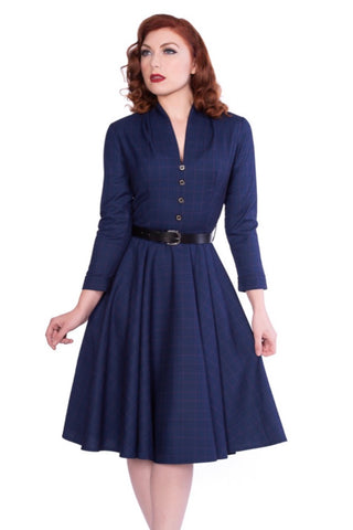 Helena Long Sleeve Dress in Navy by Sheen