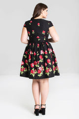 Antonia Red Roses Mid Dress by Hell Bunny