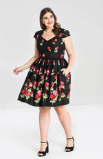 Final Sale Antonia Red Roses Mid Dress by Hell Bunny