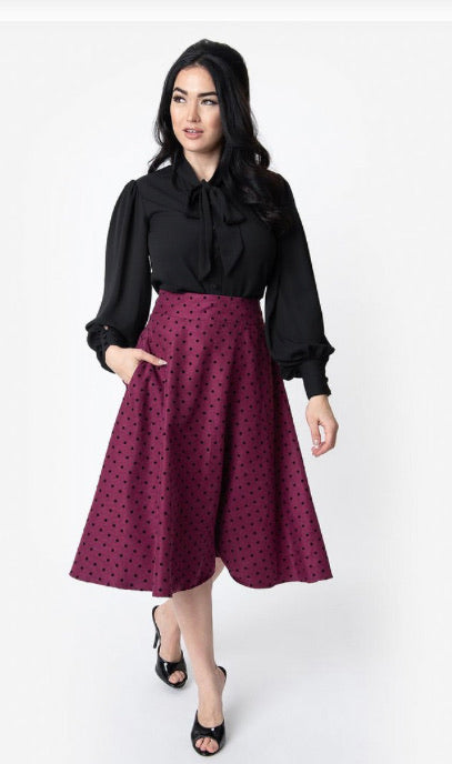 Plum & Black Polka Dot Vivien Swing Skirt