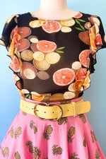 Pink Pineapple Swing Skirt by Bettie Page