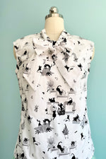 Laundry Day Cat Bow Top by Retrolicious
