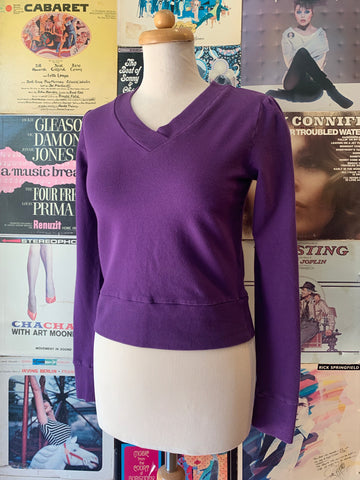 Purple V-Neck Cropped Sweatshirt by Blue Platypus