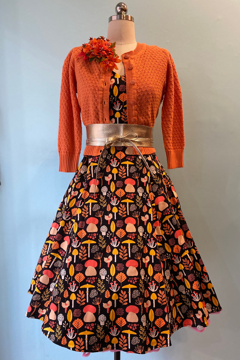 Orange Leaves and Mushrooms Dress by Eva Rose