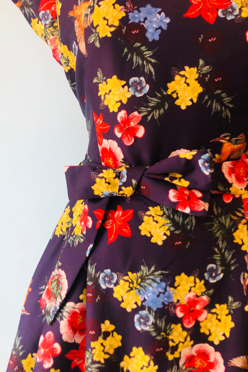 Beatrice Dress in Navy Tropical Birds by Palava