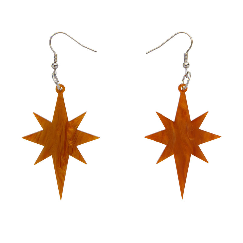Gold Starburst Ripple Resin Drop Earrings by Erstwilder