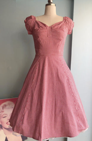 Gingham Cap Sleeve Dress in Red by Eva Rose