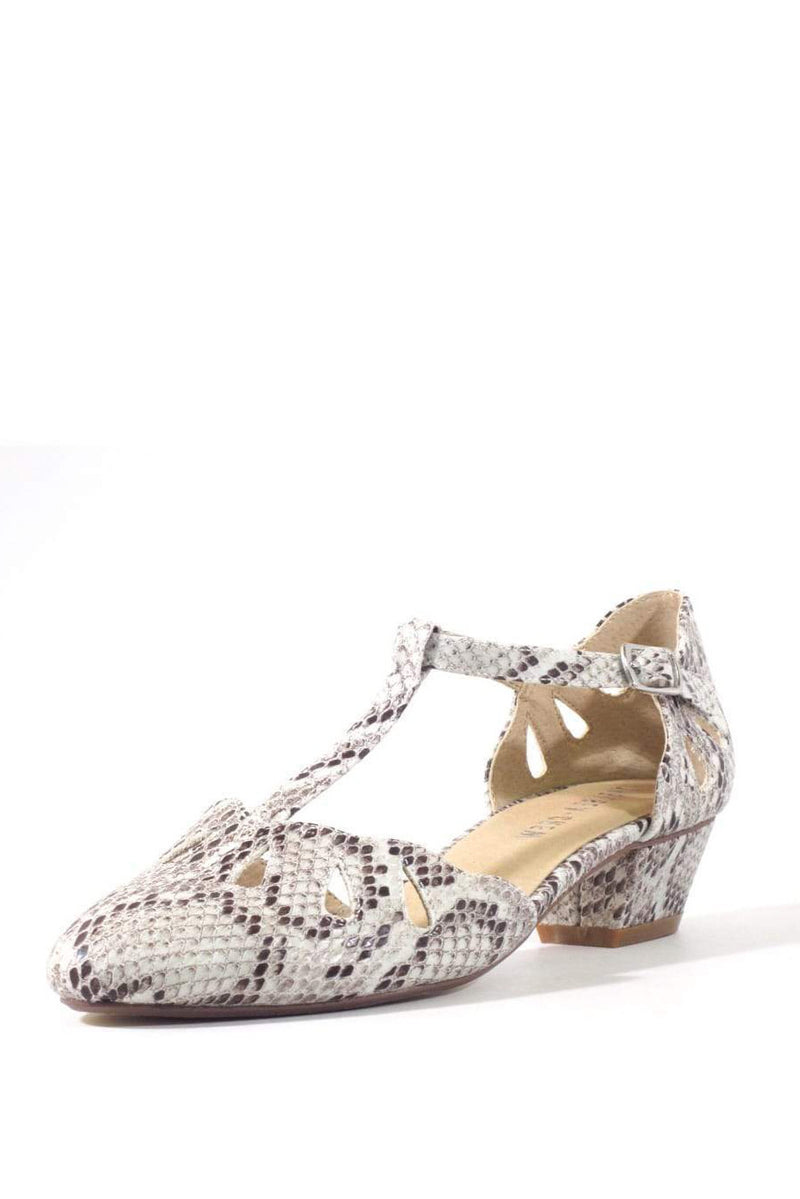 Dina Snakeskin T-Strap Shoe by Chelsea Crew