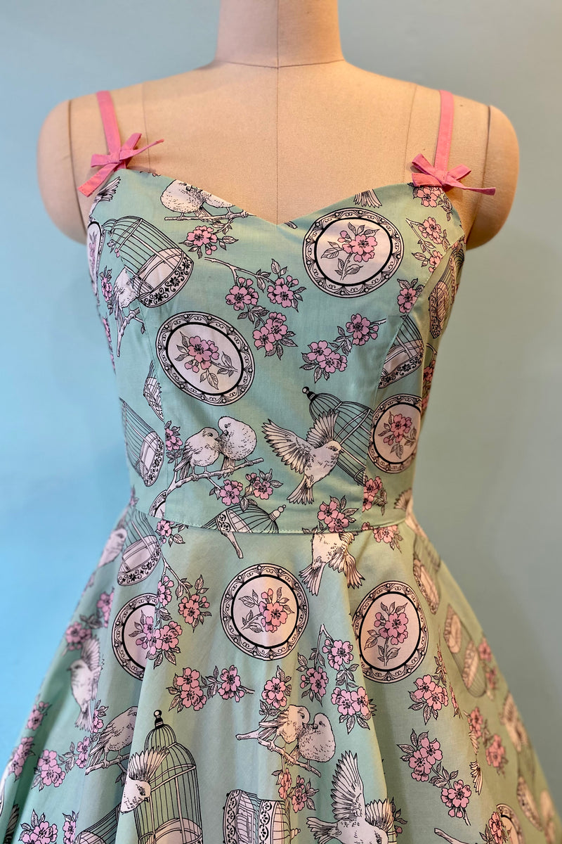 Mint Birdcage Dress by Hell Bunny