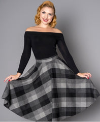 Sophie 50's Wool Circle Skirt in Black & Gray Check by Sheen