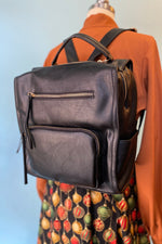 Black Zip Front Pocket Backpack
