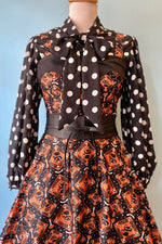 Black and Orange Halloween Cat Rachel Dress