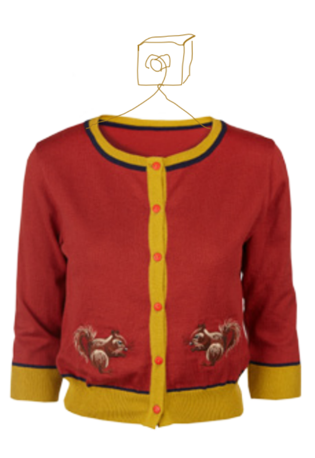 Burgundy Squirrel Cardigan Sweater by Palava