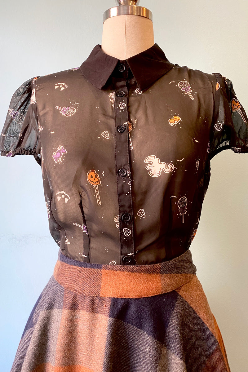 Trick or Treat Blouse by Hell Bunny