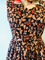 V-Neck Dress in Textured Navy Butterfly Print