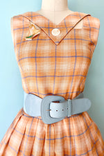 Matilda Peach Plaid Dress by Tatyana