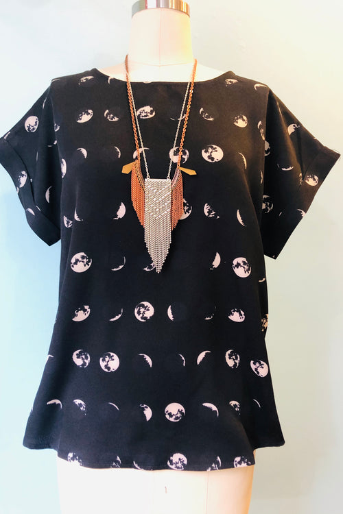 Moon Phase Top in Black