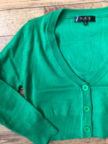 Perfect Cropped Cardi in Bright Green