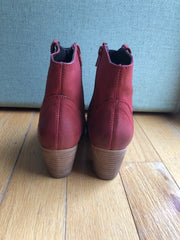 Texan Red Leather Cowboy Bootie by Chelsea Crew