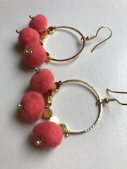 Dangling Pom Earrings in Pink by Mata Traders
