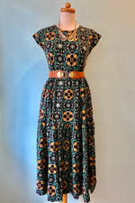 Tiered Tile Maxi Dress in Teal by Mata Traders