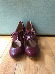 Mindy Wing Tip Lace-Up Heels in Burgundy by Chelsea Crew