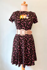 Black & Purple Short Sleeve Bat Stephanie Dress