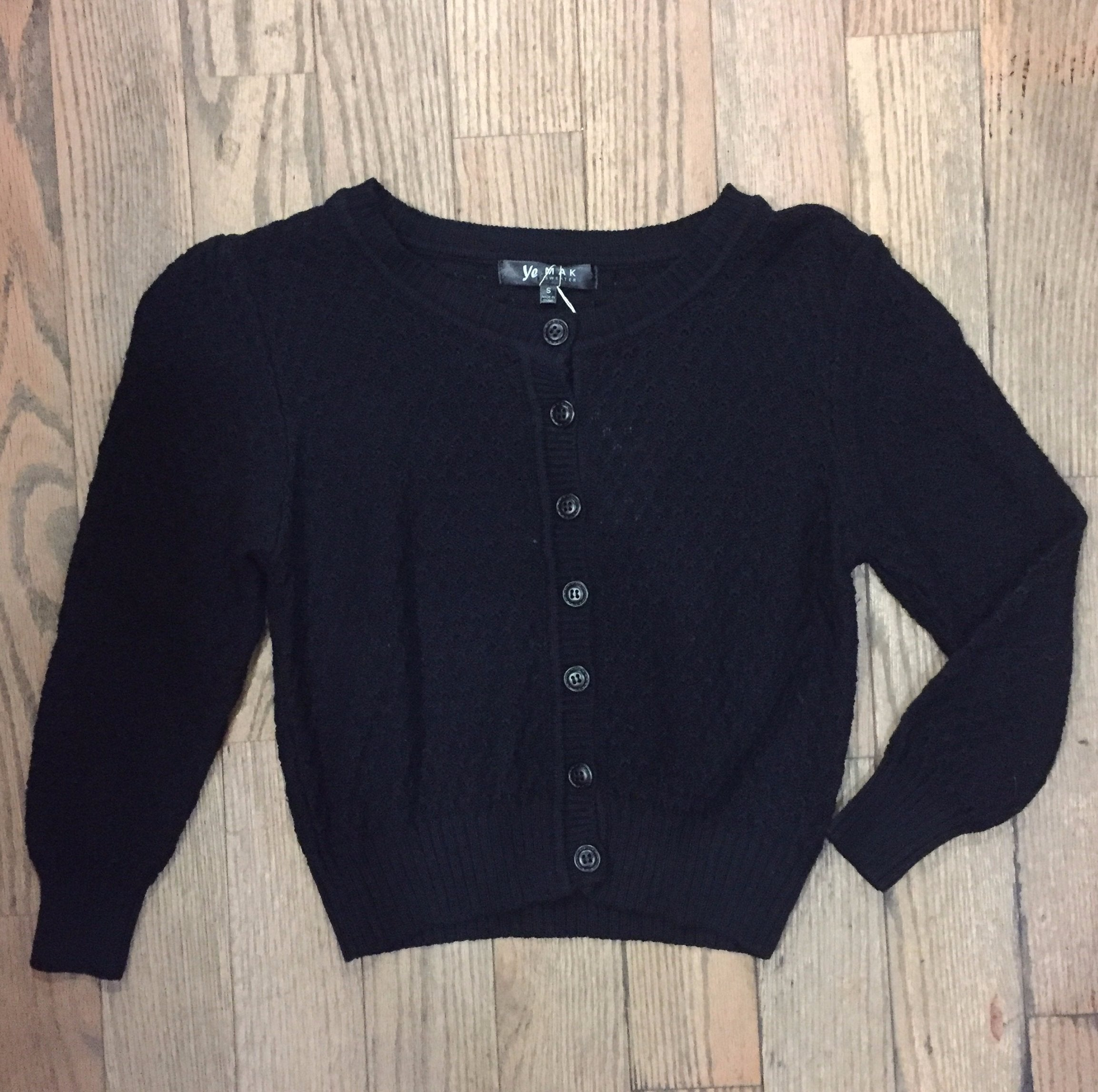 Black Crocheted Cropped Cardigan