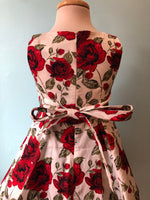 Hearts & Roses White & Red Rose Kids Dress