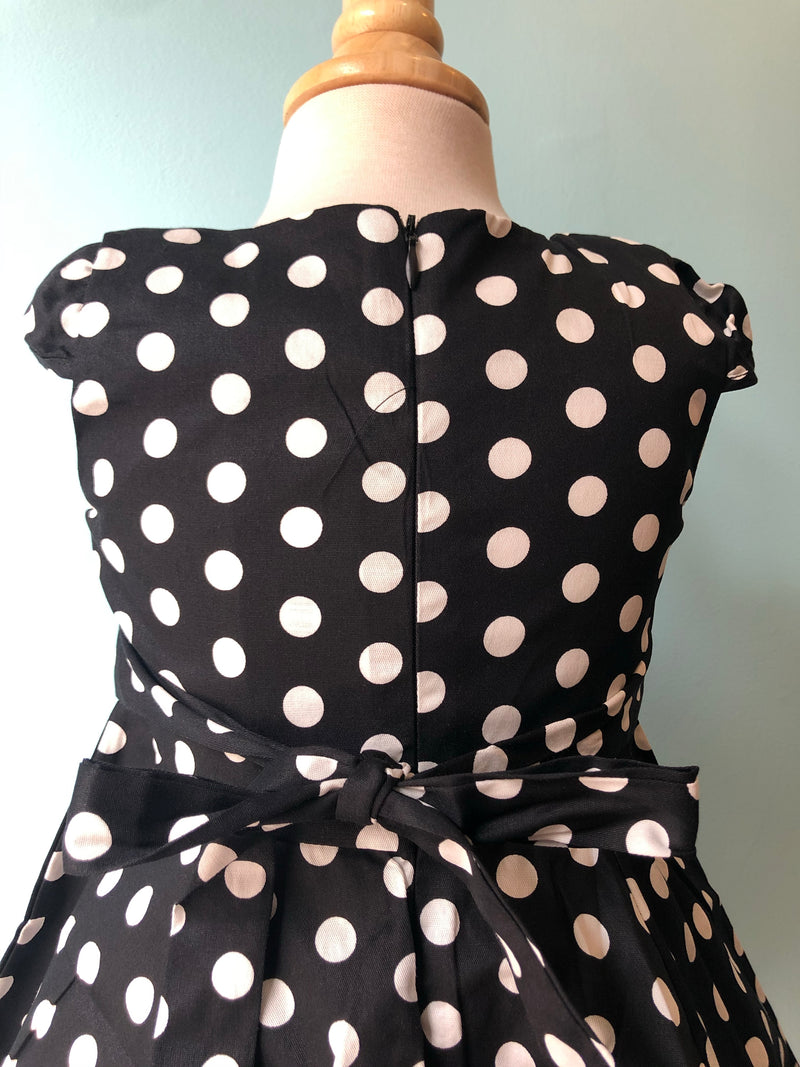 Hearts & Roses Black & White Polka Dot Kids Dress