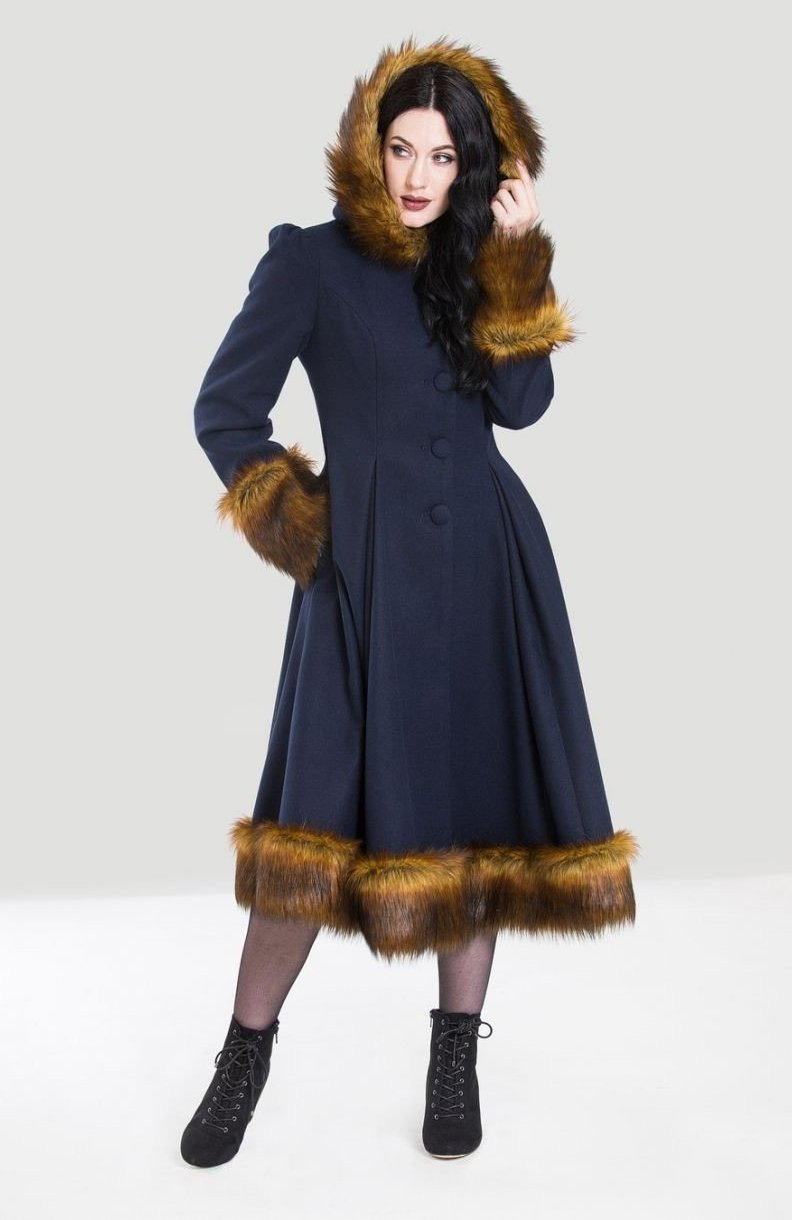 Robin Coat in Navy Blue by Hell Bunny