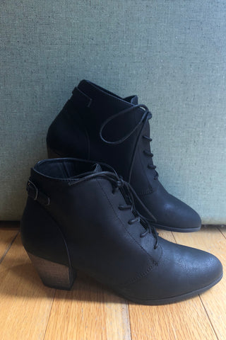 Black Lace-Up Lord Bootie by Chelsea Crew