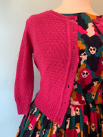 Magenta Crocheted Cropped Cardigan