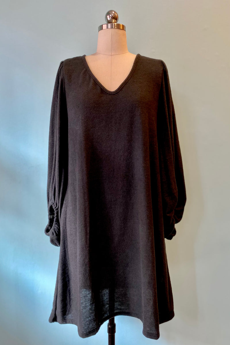 Knit Tunic Dress with Balloon Sleeves in Black