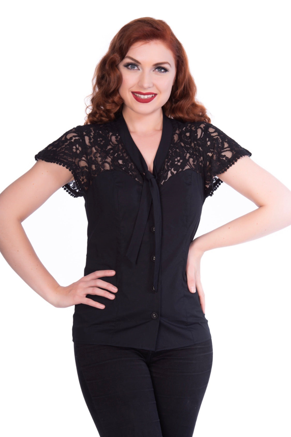 Black Lace Tammy Button Down Top by Sheen