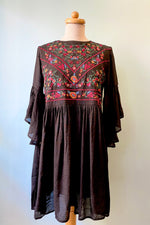 Black Embroidered Mini Dress Tunic