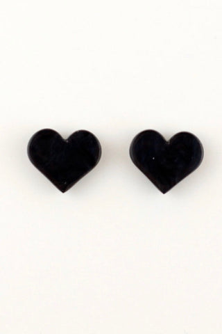 Heart Stud Earrings in Black Ripple Resin by Erstwilder