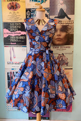 Darlene Dress in Blue & Brown Floral by Heart of Haute
