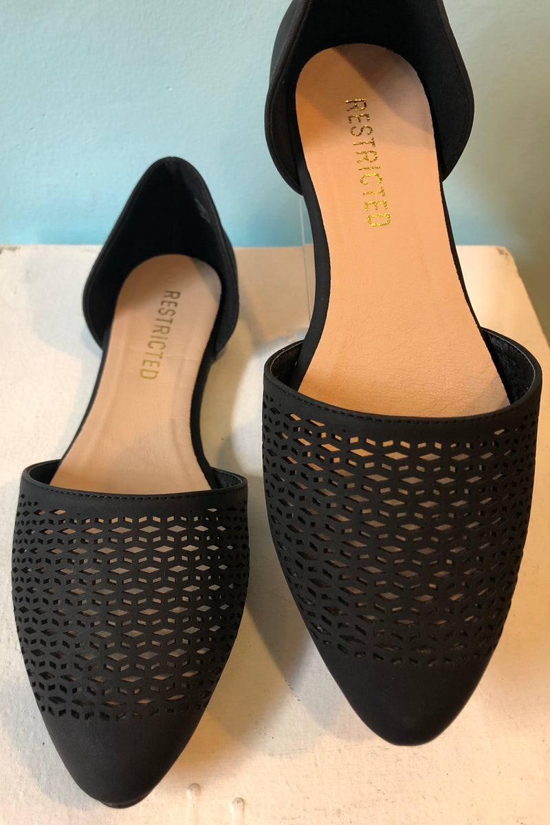 Black Pointed Toe Laser Cut Flats